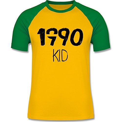 Geburtstag - 1990 KID - zweifarbiges Baseballshirt für Männer Gelb/Grün