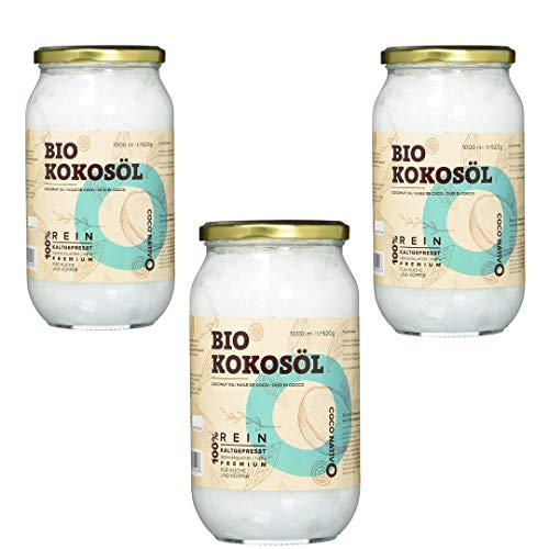 Bio Kokosöl CocoNativo -3x1000mL(1L)- Bio Kokosfett, Kokosnussöl, Premium, Nativ, Kaltgepresst, Rohkostqualität, Rein - zum Kochen, Braten und Backen, für Haare und Haut (3x1000ml Schraubglas) - Luft Glas