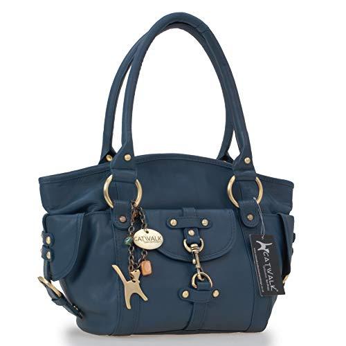 Leder Umhängetasche Lederhandtasche Schultertasche KARLIE Blau