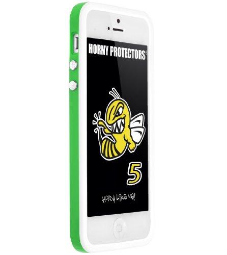 Horny Protectors Cover Case Bumper Schutzhülle für Apple iPhone 5 TPU Silikon lila/schwarz grün - weiß