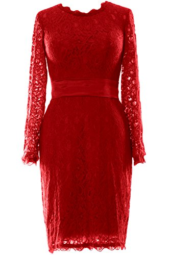 MACloth - Robe - Trapèze - Manches Longues - Femme Rouge - Bordeaux