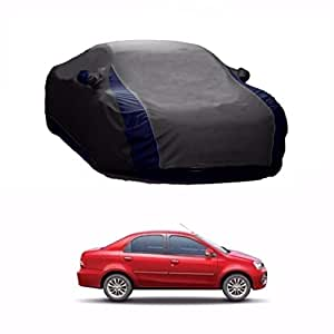 TOYHUB Lively Water Resistant V Shape Car Body Cover for Toyota Etios (Grey and Blue)