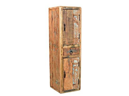 Woodkings® Bad Hochschrank Kalkutta recyceltes Holz bunt rustikal Hängebad Badhochschrank massiv Badmöbel Massivholz Badezimmer Badezimmerhochschrank Wandschrank