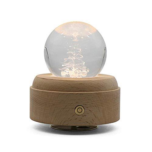 CWC Touch Rotating Musikbox, 3D Kristallkugel, Wake Up-Nachtlicht, mit Projection LED-Leuchten und Holzsockel, Crystal Ball Music Box