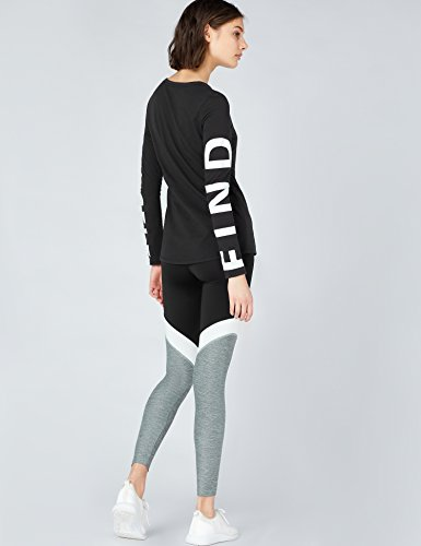 FIND T-Shirt à Manches Longues Imprimées Yourself Femme Noir (Black)