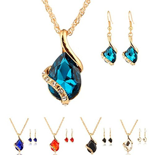 - 41WWU11vNUL - Rcool Women Girl Crystal Pendant Chain Necklace Choker Drop Earrings Jewelry Set