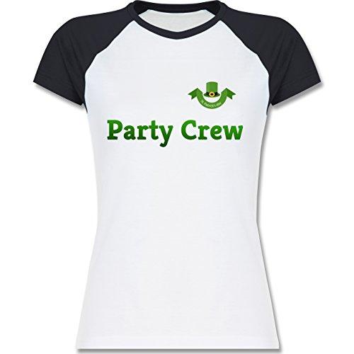 Festival - St. Patricks Day Party Crew - zweifarbiges Baseballshirt / Raglan T-Shirt für Damen Weiß/Navy Blau