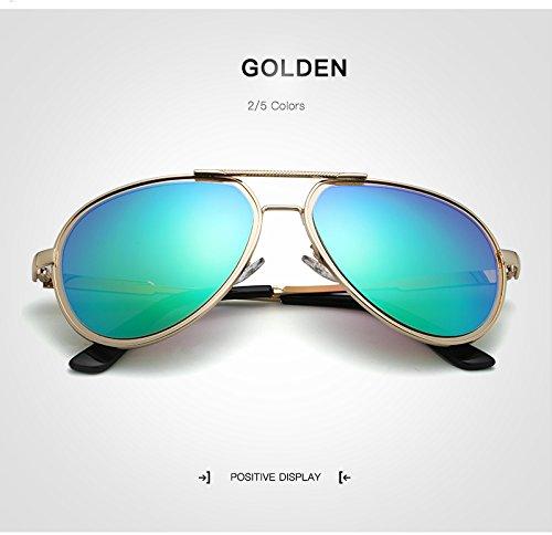 Yiph-Sunglass Sonnenbrillen Mode Neue Sonnenbrille Retro Pilot Sonnenbrille Männer Polarisierte Spiegel/gespiegelt Herren Sonnenbrille gläser oculos de sol (Color : Golden)
