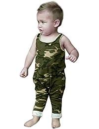 Koly Camisas de verano para bebés Camouflage lindo sin mangas O-cuello Jumpsuit