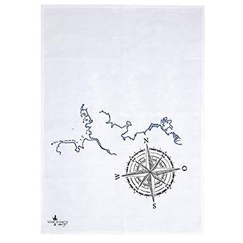 Handmade Designer Geschirrtuch – Nordlichter Kompass – 50×70 cm Halbleinen – Handsiebdruck aus eigenem Atelier