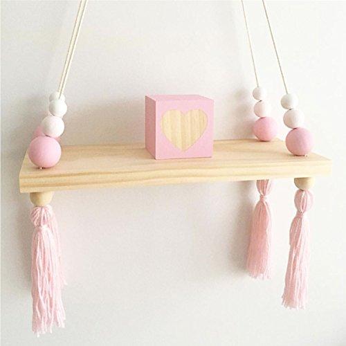 KINGSO Wandregal Schweberegal Holz Ständer Schaukel Hängenden Wandregal Macaron Board Mädchen Kinderzimmer, Größe: 38x14x1,2cm Weiß rosa