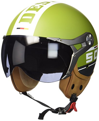 SOXON SP-325-PLUS Army · Mofa Bobber Biker Helmet Vespa-Helm Scooter-Helm Chopper Jet-Helm Cruiser Vintage Motorrad-Helm Pilot Roller-Helm Retro · ECE zertifiziert · inkl. Sonnenvisier · inkl. Stofftragetasche · Grün · L (59-60cm) (Cruiser Damen Motorrad)