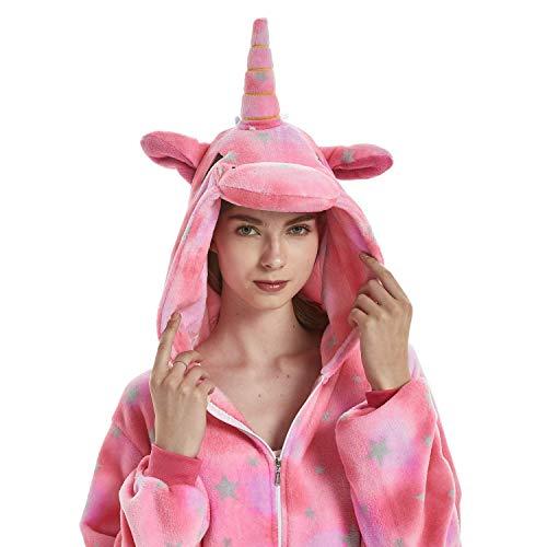 FMDD Tier Cosplay Kostüm Einhorn Cosplay Kostüm Onesie Pyjamas Erwachsene Halloween Cosplay Kostüm (Rosa Star Einhorn, S(Höhe 147-157 cm))