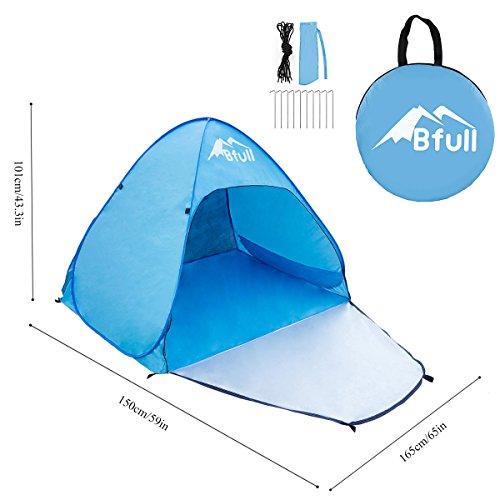 Bfull tenda da spiaggia per esterni portatile con protezione solare per 1 o 2 persone, apertura istantanea pop-up colore: blu