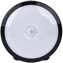 WEINAS® LED Luz de Noche con Sensor de Movimiento Adhesiva con una Tapa Inferior, Lámpara Nocturna Led de Pared con Sensor de Luz Automático Recargable para Iluminación de Dormitorio Armario Habitación Gabinete Baño Escaleras Pasillo Cajón Balcón - Blanco Cálido (Negro)