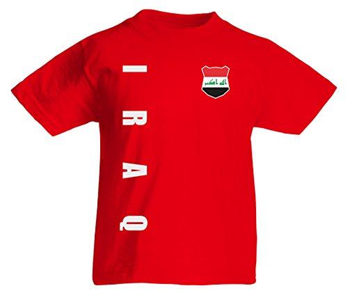 Irak Iraq Kinder T-Shirt Trikot Wunschname Wunschnummer (Rot, 128)