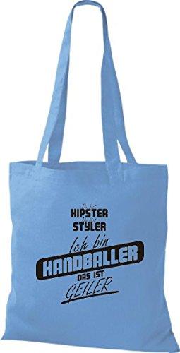 Shirtstown Stoffbeutel du bist hipster du bist styler ich bin Handballer das ist geiler hellblau