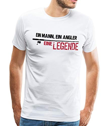 Spreadshirt Angeln Mann Angler Legende Angelrute Männer Premium T-Shirt, XXL, Weiß