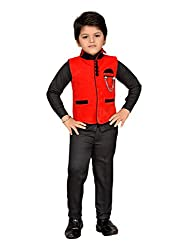 AJ Dezines Kids Party Wear Suit Set for Boys (643_RED_5)