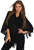 931 Fashion4Young Damen Poncho Pullover Tunika Pulli verfügbar in 3 Farben Gr. 34/36/38
