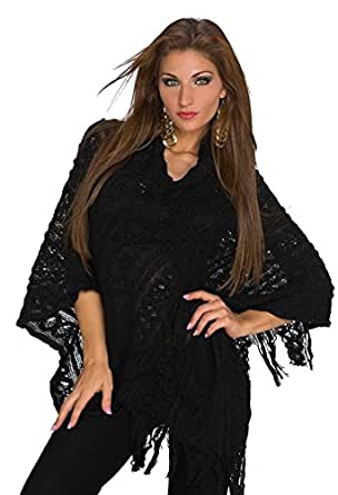 931 Fashion4Young Damen Poncho Pullover Tunika Pulli verfügbar in 3 Farben Gr. 34/36/38 (One Size (34 36 38), Schwarz)
