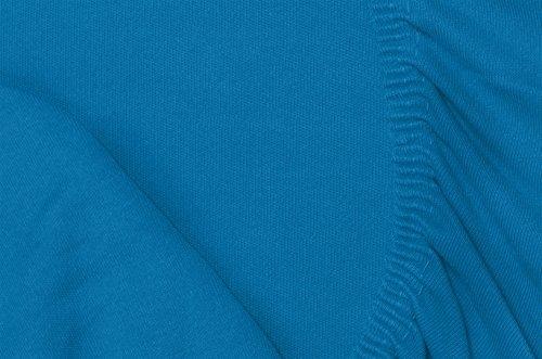 Double Jersey - Spannbettlaken 100% Baumwolle Jersey-Stretch bettlaken, Ultra Weich und Bügelfrei mit bis zu 30cm Stehghöhe, 160x200x30 Petrol - 7