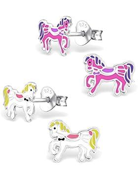 2 Paar Kinder Ohrringe Pferd Pony Ohrstecker 925 Silber 8mm (4 Stück)