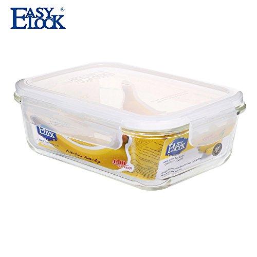 Easylock rectangular cristal recipientes de almacenamiento de alimentos sin BPA hermética para microondas (/1040ml se puede lavar en lavavajillas.