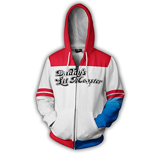 Wycdbk Hoodies Sweatshirts 3D HD Print Pullover Tops Mit Taschen Reißverschluss Unisex Suicide Squad Squad Hoodie Sweatshirts