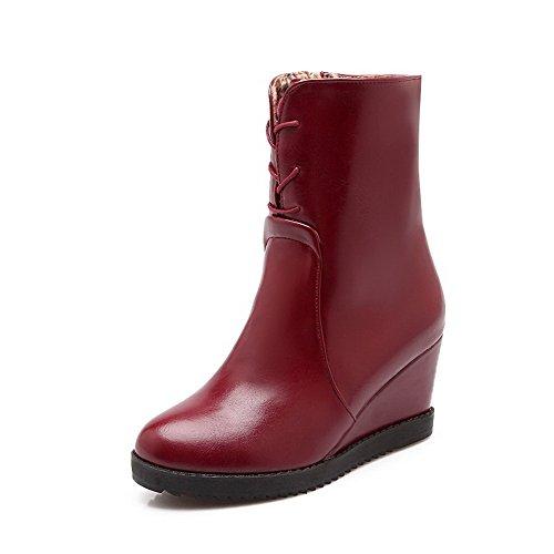 AllhqFashion Damen Mitte-Spitze Rein Reißverschluss Spitz Zehe Hoher Absatz Stiefel, Rot, 35