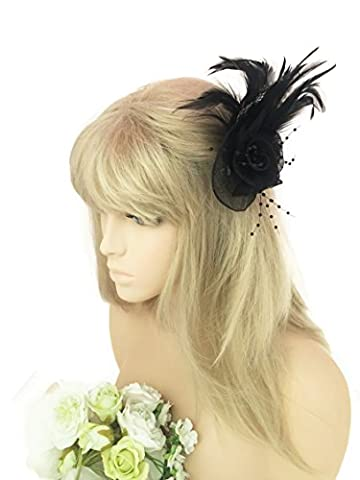 Beautiful LargeElegant Black Rosette Fascinator Hair Clip with Feathers Flower Design and Beads