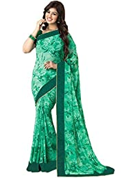 Indian E Fashion Women's Georgette Saree With Blouse Piece (Bindiyagreen-Green Sarees,Green,Free Size)