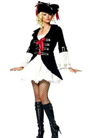 Forever Young Lady Captain Pirate Fancy Dress Costume + Hat (UK Size 8)