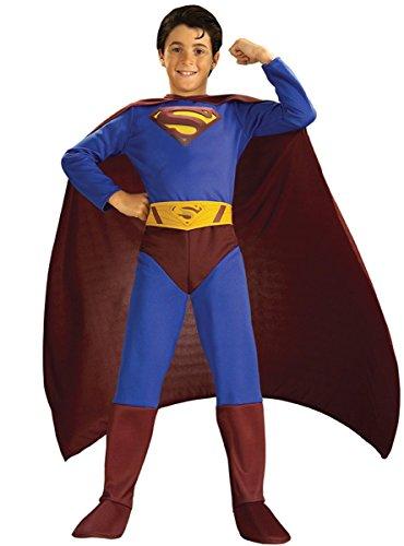 Costume Superman Returns da bambino 8/10 ANNI travestimento carnevale halloween cosplay licenza ufficiale vestito completo con copriscarpe mantello e cintura supereroe costume supereroi batman robin wonder woman superman lanterna verde spiderman uomo ragno 8/10 anni