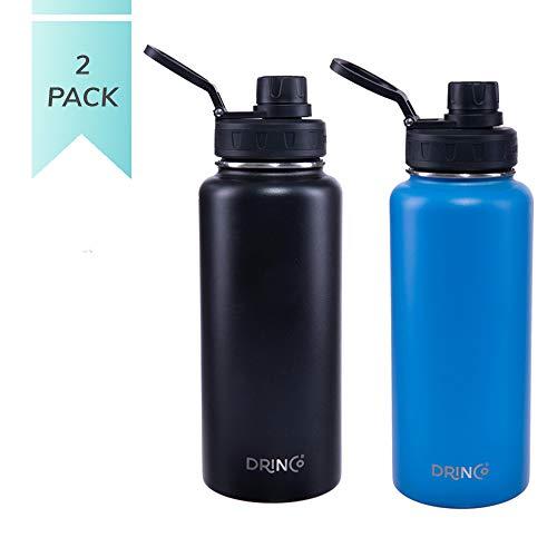 drinco Vakuum Isolierte Edelstahl-Flasche, mit Auslauf Deckel, Weithals, auslaufsicher, Pulver, doppelwandig, Edelstahl 18/8Klasse, Wasser Flasche 30 oz 2 Pack schwarz/blau (Pulver Auslauf)