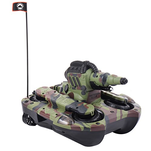 2,4G RC Ferngesteuerter Amphibienpanzer Amphibienauto Amphibienfahrzeug Amphibious Tank Wasser u. Land Spielzeug mit Schussfunktion (Wasser)