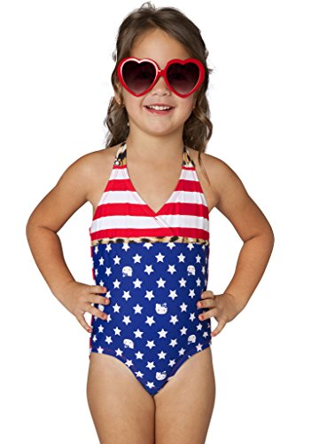 Hello Kitty Girls' Stars & Stripes Halter One Piece (6X) (One Piece Stripe)