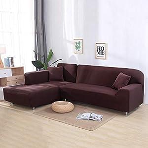 Volwco Sofabezug, L-Form, 2 Stück, einfarbig, Sofabezug, 3-Sitzer, Stretch Sofa, Schonbezüge mit 16 Schaumstoffstäbchen, universell dehnbar, Polyester-Gewebe braun