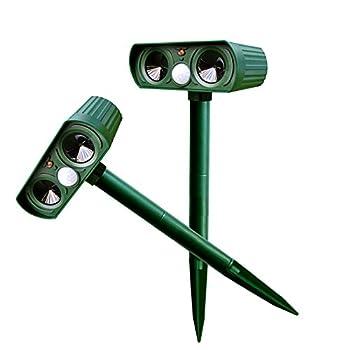 Alxcio Répulsif Ultrason Solaire avec détecteur de mouvement PIR Scare Chiens Chats Vole Mole Garden Protector (2 pièces)