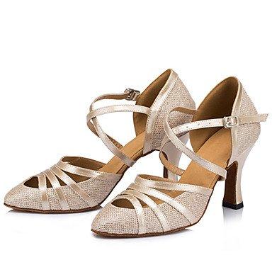 XIAMUO Anpassbare Damen Tanz Schuhe funkelnden Glitter funkelnden Glitter Latin/Ballsaal Heels Stiletto Heel Indoor Schwarz/Elfenbein/Silber Schwarz