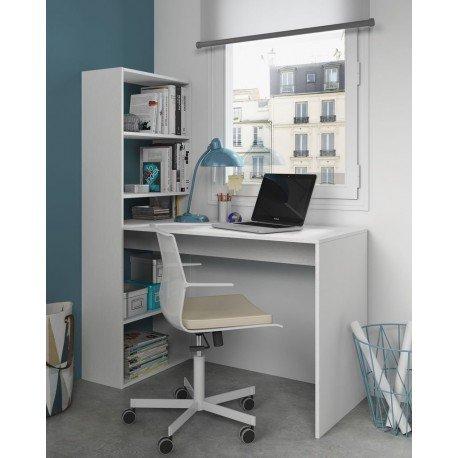 Habitdesign Scrivania con scaffale Reversibile, Colore: Bianco Alpino, Altezza: 120 x 144 x 53 cm