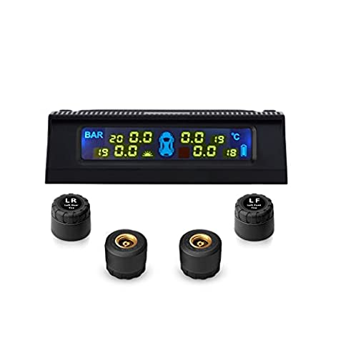 Tyre Pressure Gauge, MINPE Wireless Digital Real-time Tire Pressure Temperature Monitoring System TPMS with 4 External Sensors, Solar Charge and LCD Display (0~6 bar/0~87