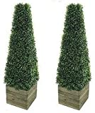 Twin Artificial Trees 3ft Pyramid Cones in wooden box stand - Indoor / outdoor artificial trees - Realistic Topiary trees