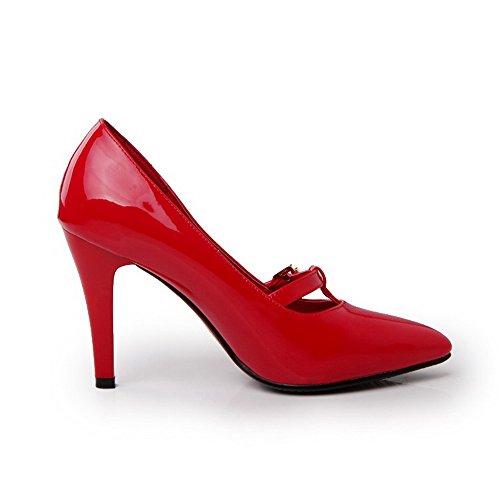 VogueZone009 Femme Fermeture D'Orteil Pointu Tire Verni Couleur Unie Stylet Chaussures Légeres Rouge