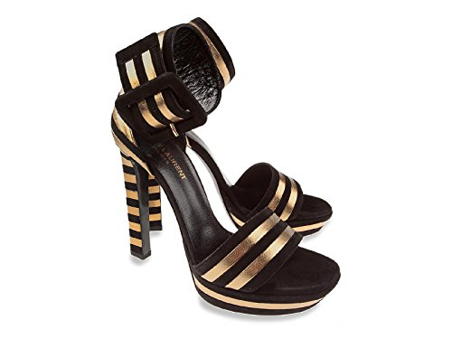 Sandales à plateforme Saint Laurent en peau Retournée noir - Code modèle: 315709 C2WR0 1059 Noir