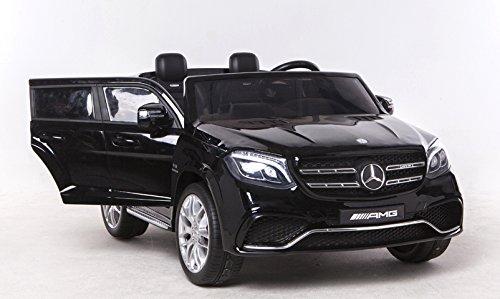 RIRICAR Mercedes-Benz GLS 63 Negro - 2.4Ghz, Coche eléctrico para niños, 2 x 12V, 4 X Motor, Mando a Distancia, Dos Asientos en Cuero, Ruedas Blandas de EVA