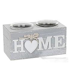 Idea Regalo - Portacandele doppio in stile shabby chic, color grigio provenzale, disponibile con le scritte Love o Home, Home