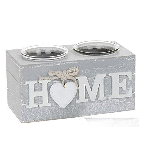 Shabby Chic Grey Provence Heart Double Tealight Holder Home