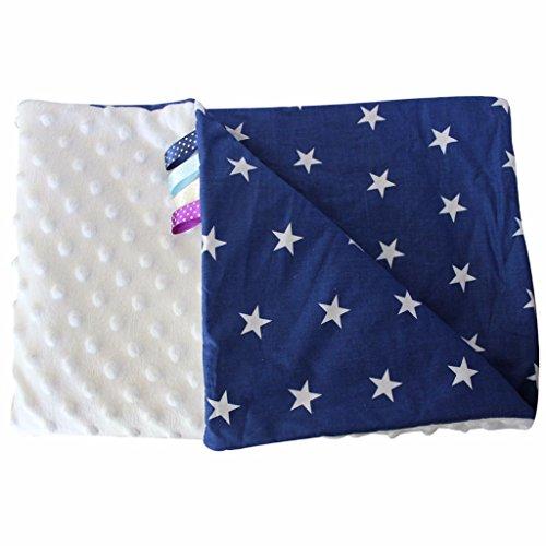 Minky Babydecke Kuscheldecke Krabbeldecke Decke Super weich und flauschig Handarbeit Sterne (75x100cm, Weiß Dunkelblau)