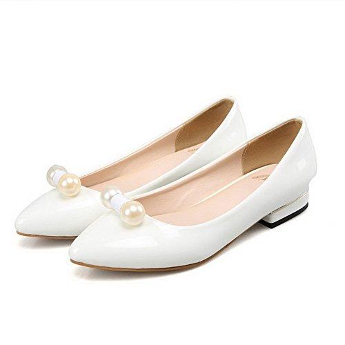 VogueZone009 Damen Lackleder Spitz Zehe Ohne Absatz Ziehen Auf Rein Flache Schuhe Weiß